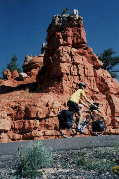 Picture of Allen cycling through Red Canyon in Utah